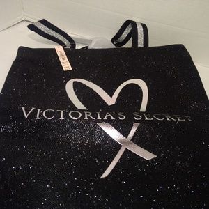 NWT Victoria's secret glitter black tote